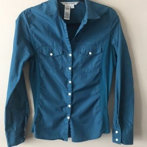 Teal casual fitted blouse